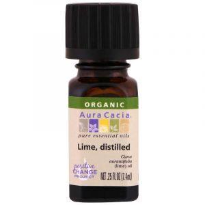 Эфирное масло лайма, Essential Oil, Lime, Distille, Aura Cacia, органик, 7,4 мл