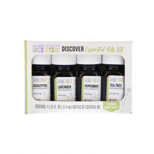 Эфирные масла, набор, Discover Essential Oils Kit, Aura Cacia, 4 флакона по 7,4 мл