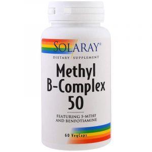 Витамины группы В, Methyl B-Complex 50, Solaray, 60 вегетарианских капсул