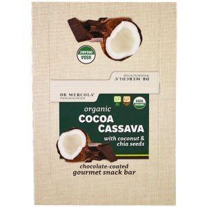 Батончики с кокосом и семенами чиа, Cocoa Cassava, Dr. Mercola, органик, 12 шт. по 44 г