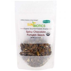 Семена тыквы, Pumpkin Seeds, Spicy Chocolate, Sunbiotics, вкус шоколада со специями, органик, 42,5 г
