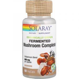 Лечебные грибы, смесь, Mushroom Complete, Solaray, 600 мг, органик, 60 вегетарианских капсул