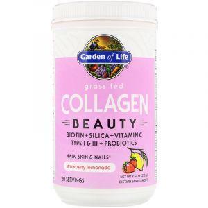 Пептиды коллагена, Grass Fed Collagen Beauty, Garden of Life, клубничный лимонад, порошок, 270 г
