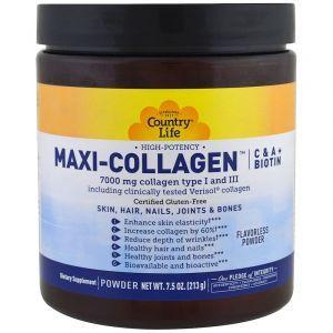 Коллаген макси с витамином А и С плюс биотин, Maxi-Collagen, C & A plus Biotin, Country Life, 213 г (Default)
