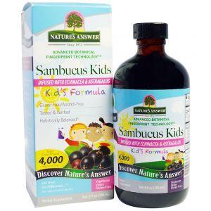 Бузина для иммунитета детям, Sambucus Kid's Formula, Nature's Answer, 4000 мг, 240 мл (Default)
