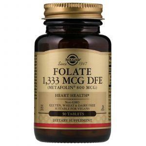 Фолиевая кислота, Folate As Metafolin, Solgar, метафолин 800 мкг, 50 табл. (Default)