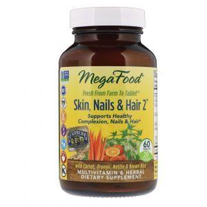 Витамины для волос, кожи и ногтей, Skin, Nails & Hair 2, MegaFoods, 60 таблеток