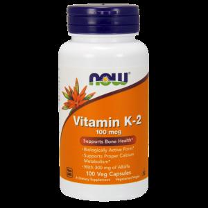 Витамин К-2, Vitamin K-2, Now Foods, 100 мкг, 100 капс