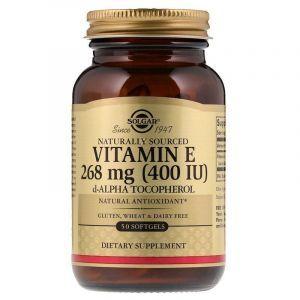 тамин Е, смесь токаферолов, Vitamin E Mixed Tocopherols, Solgar, 400 МЕ, 50 капсул