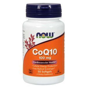 Коэнзим Q10, CoQ10, Now Foods, 100 мг, 50 гелевых капсул