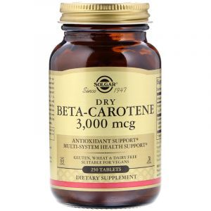 Бета каротин (Beta Carotene), Solgar, 10000 МЕ, 250 таблеток (Default)