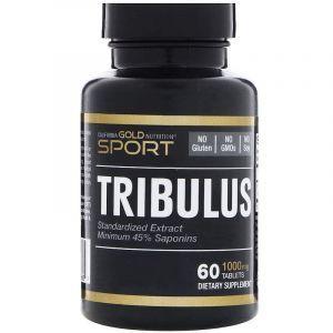 Трибулус, Tribulus, California Gold Nutrition, стандартизованный экстракт, 45% сапонинов, 1000 мг, 60 таблеток. (Default)