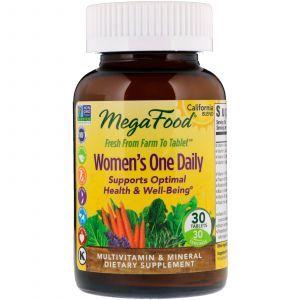 Мультивитамины и минералы для женщин, Women's Multivitamin & Mineral, Mega Food, 1 в день, 30 таблеток (Default)