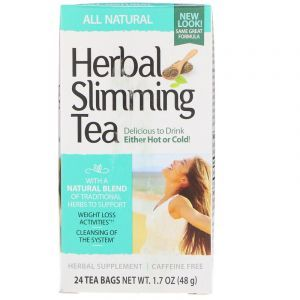Чай для похудения травяной, Herbal Slimming Tea, 21st Century, без кофеина, 24 пак. (45 г) (Default)