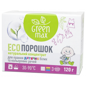 ЭКО порошок для стирки детских вещей, Green Max, 120 г