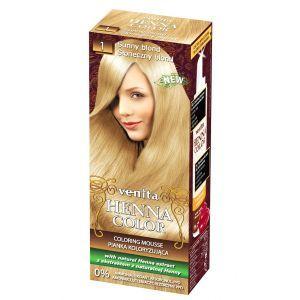 Краска-мусс для волос, оттенок №1 Солнечный блонд, Henna Color Coloring Mousse, Venita, 115 мл.