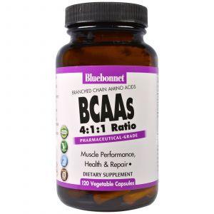 BCAA амино, BCAAs 4:1:1 Ratio, Bluebonnet Nutrition, 120 капсул (Default)