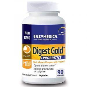 Энзимы смесь плюс пробиотики, Digest Gold Probiotics, Enzymedica, 90 капсул (Default)