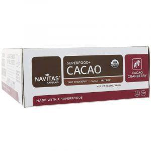 Батончики с какао и клюквой, Superfood + Cacao, Navitas Naturals, органик, 12 шт., 480 г