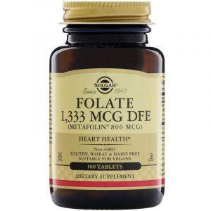 Фолиевая кислота, Folate As Metafolin, Solgar, метафолин, 800 мкг (1333 мкг DFE), 100 таб