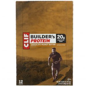 Протеиновые батончики с арахисовым маслом, какао, Builder's Bar, Clif Bar, 12 бат. по 68 г