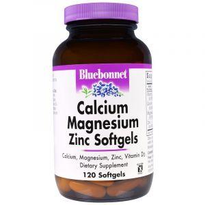 Кальций, магний и цинк, Calcium Magnesium Zinc, Bluebonnet Nutrition, 120 капсул (Default)