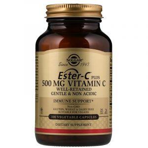 Витамин С эстер плюс (Ester-C Plus Vitamin C), Solgar, 500 мг, 100 капсул (Default)