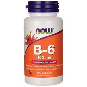 Now Foods, B-6, 100 mg, 100 Capsules
