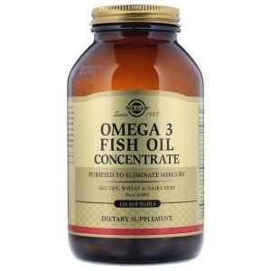 Рыбий жир в капсулах, Omega-3 Fish Oil, Solgar, концентрат, 120 капсул (Default)