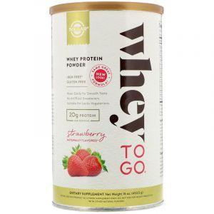 Сывороточный протеин, клубника, Whey Protein, Solgar, порошок, 453.5 г (Default)