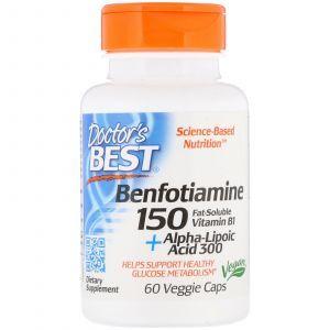 Альфа-липоевая кислота + Бенфотиамин, Benfotiamine + Alpha-Lipoic Acid, Doctor's Best, 150/300 мг, 60 кап. (Default)