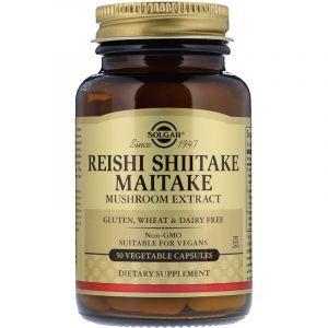 Лечебные грибы рейши, шиитаке и майтаке (Reishi Shiitake Maitake), Solgar, экстракт, 50 капсул (Default)