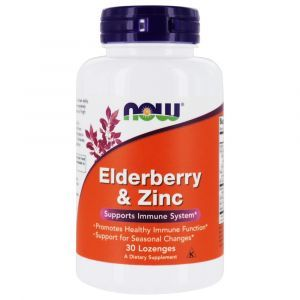 Черная бузина и цинк, Elderberry & Zinc, Now Foods, 30 леденцов