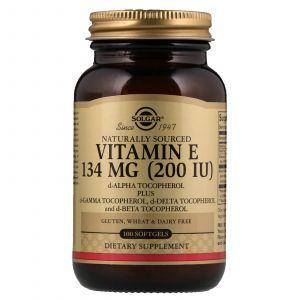 Витамин Е, Vitamin E, Solgar, смесь токоферолов, 200 МЕ, 100 капсул (Default)