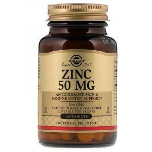 Глюконат цинка, Zinc, Solgar, 50 мг, 100 таблеток (Default)