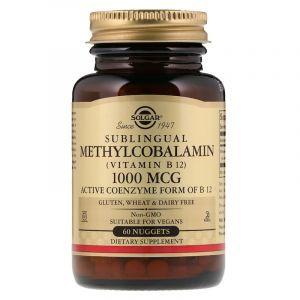 Витамин В12 (метилкобаламин), Vitamin B12, Solgar, сублингвальный, 1000 мкг, 60 таблеток (Default)