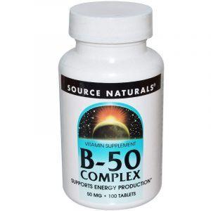 Витамин В-50 (комплекс), B-vitamins, Source Naturals, 50 мг, 100 таблеток (Default)