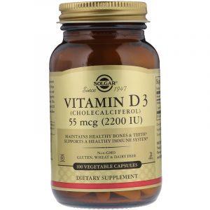 Витамин D3, Vitamin D3, Solgar, 2200 МЕ, 100 капсул (Default)