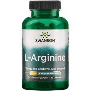L-Аргинин, L-Arginine, Swanson, максимальная сила, 850 мг, 90 капсул