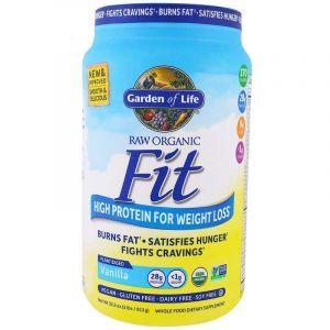 Протеиновый коктейль для снижения веса, Raw Organic Fit, Garden of Life, органик, для веганов, вкус ванили, 913 г