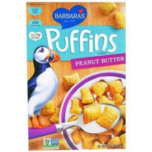 Зерновые подушечки с арахисовым маслом, Puffins Cereal, Barbara's Bakery, для веганов, 312 г
