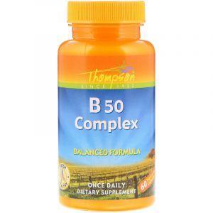 Комплекс витаминов В-50, B50 Complex, Thompson, 60 капсул (Default)