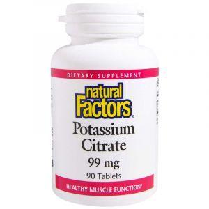 Калий, Potassium Citrate, Natural Factors, 99 мг, 90 таблеток (Default)