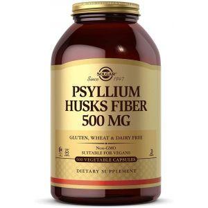 Подорожник, Psyllium Husks Fiber, Solgar, 500 мг, клетчатка шелухи, 500 вегетарианских капсул