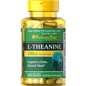 Л-теанин, L-Theanine, Puritan's Pride, 200 мг, 60 капсул