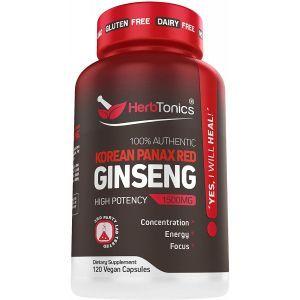 Корейский красный женьшень (корень), Korean Panax Red Ginseng, Herbtonics, 1500 мг, 120 вегетарианских капсул
