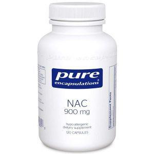 NAC (N-ацетилцистеин) 900 мг, NAC (n-acetyl-l-cysteine) 900 mg, Pure Encapsulations, 120 капсул