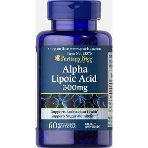 Альфа-липоевая кислота, Alpha Lipoic Acid, Puritan's Pride, 300 мг, 60 гелевых капсул
