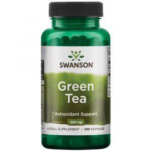 Зеленый чай, Green Tea, Swanson, 500 мг, 100 капсул