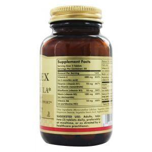 Комплекс витаминов группы В + С, B-Complex, Solgar, стресс формула, 100 таблеток (Default)